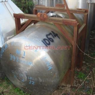 10674 - 1400 LTR HORIZONTAL STAINLESS STEEL TANK TANK