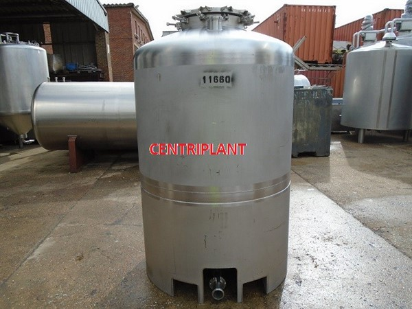 11660 - 1,500 LITRE GRADE 316,STAINLESS STEEL  TANK, DISH TOP, CONICAL BASE,  ON STAINESS STEEL SKIRT.