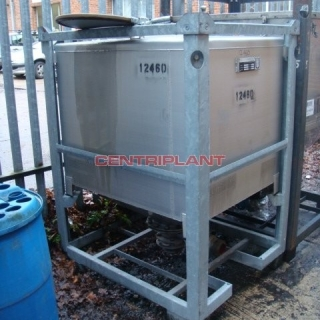 12460 - 1,000 LITRE STAINLESS STEEL SQUARE TRANSIT TANK