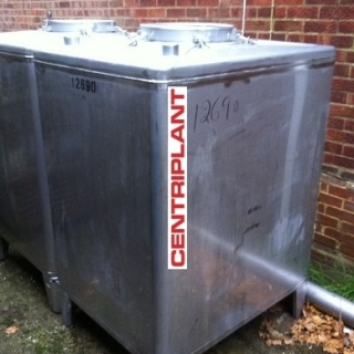12690 - 1,250 LITRE STAINLESS STEEL SQUARE CONICAL BASE TANKS.