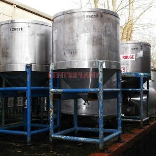 12807 - 750 LITRE STAINLESS STEEL OPEN TOP TANKS, CONICAL BASE, TANK STANDING ON LEGS