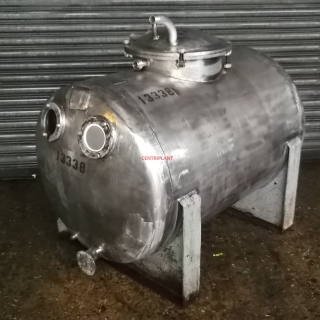 13338 - 400 LITRE HORIZONTAL STAINLESS STEEL TANK, DISHED ENDS