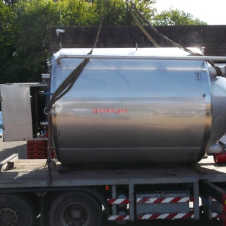 13462 - 14,500 LITRE STAINLESS STEEL CHILLED JACKETED MIXING TANK, INSULATED AND CLAD WITH ST/ST.