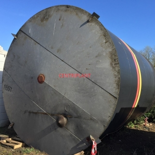 13557 - 60,000 LITRE VERTICAL MILD STEEL TANK, CONICAL TOP, DISH BASE, TANK STANDING ON A SKIRT.