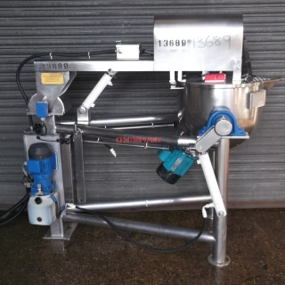 13689 - 80 LITRE STAINLESS STEEL SIDE SCRAPE  WITH HIGH SHEAR BOTTOM ENY MIXER AND TIPPING PAN.