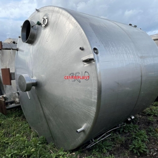 13810 - 13,250 LITRE VERTICAL STAINLESS STEEL TANK INSULATED AND CLAD WITH WELDED STAINLESS STEEL.