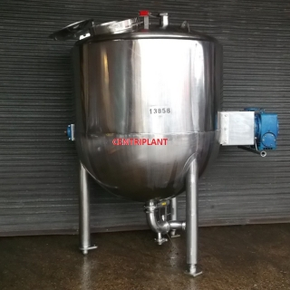 13856 - 2,000 LITRE GIUSTI MIXING TANK, INSULATED AND CLAD, SIDE SCRAPE OVER MIXING BLADE
