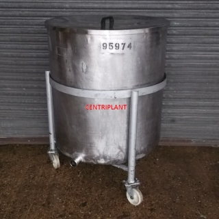 14080 - 567 LITRE STAINLESS STEEL OPEN TOP TANK MOUNTED ON WHEELS