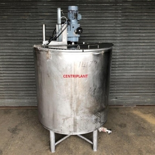 14179 - 950 LITRE MIXING TANK, SIDE SCRAPE MIXING BLADES WITH BAFFLE AND TOP ENTRY 3KW SILVERSON MIXER