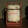 14182 - 810 LITRE ROUND STAINLESS STEEL TRANSIT TANK.