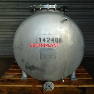 14240 - 380 LITRE HORIZONTAL STAINLESS STEEL PRESSURE TANK, SWP 1.42 BAR