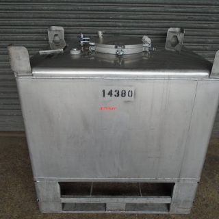 14380 - 500 LITRE SQUARE STAINLESS STEEL TANK