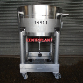 14411 - 170 LITRE STAINLESS STEEL OPEN TOP TANK MOUNTED ON WHEELS