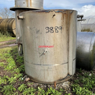 3889 - 3,000 LITRE STAINLESS STEEL OPEN TOP TANK, INSULATED AND CLAD FITTED WITH INTERNAL STEAM COIL.