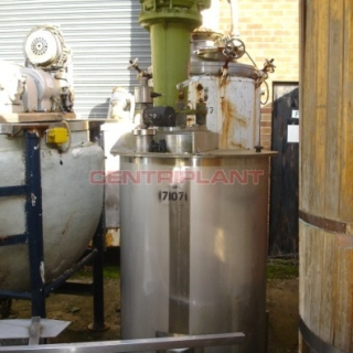 7107 - 563 LTR ST/ST GRADE 316 TANK, DISHED BASE WITH TYPHOON HIGH SPEED MIXER, 15KW 2800RPM 50MM DIA SHAFT